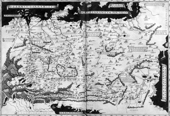 Tabula Germaniae (http://de.wikipedia.org/wiki/Cusanus-Karte#/media/File:TabulaGermaniae1.jpg)