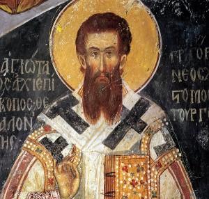 Grzegorz Palamas jest przedstawiony w stroju biskupim, którego  częścią jest omoforion z czarnymi krzyżami. Ascetyczna twarz Palamasa  wyraża rzadko spotykany w ikonografii pogodny nastrój i radość, a  asymetria oczu i brwi podkreśla cielesno-zmysłową, niedoskonałą naturę  świętego.
