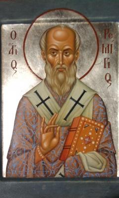 Ikona św. Remigiusza prezentuje ideały hezychastyczne: bezruch,  kontemplację, uczuciową apatheię. Wyk. M. Leszczyński