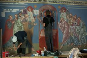 Kompozycja Komunii Apostołów, w trakcie prac malarskich, Grabarka  2015, wyk. N. Oniśko, M.Leszczyński