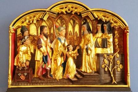 Oddanie Hildegardy do klasztoru. Kopia płaskorzeźby z 1898 z Rochuskapelle.