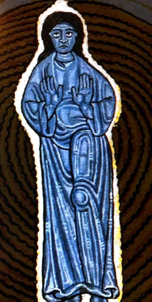 Szafirowoniebieska postać ludzka przedstawiająca Syna Bożego.