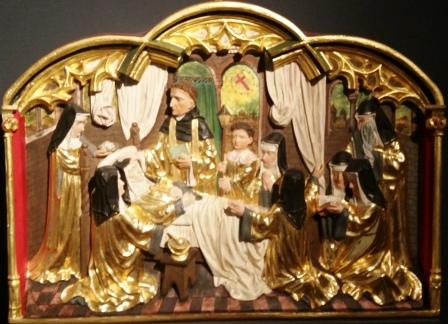 Śmierć Hildegardy. Kopia płaskorzeźby z 1898 roku z Rochuskapelle.