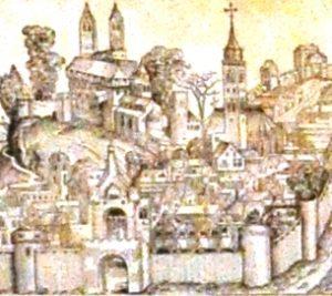"""Magdeburg. Na głównym placu w mieście ustawiono dla Kuzańczyka ambonę ozdobioną złotym brokatem, co miało symbolizować """"złoty"""" rok jubileuszowy"""