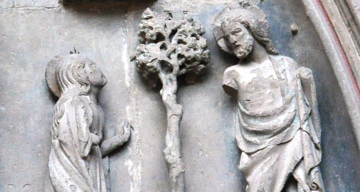Spotkanie Marii Magdaleny ze zmartwychwstałym Chrystusem. Scena z portalu katedry w Huesce (Hiszpania)